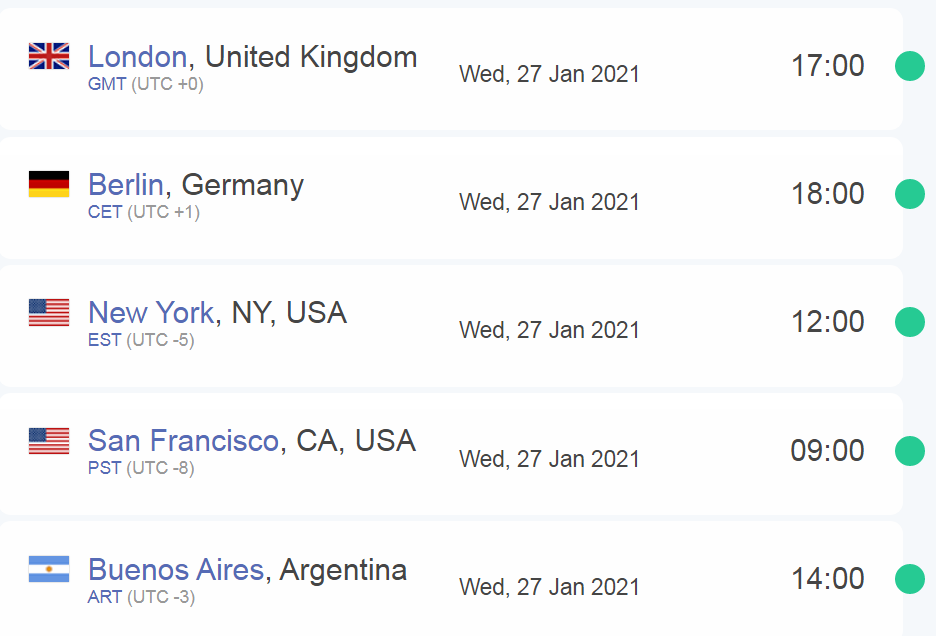 Time zone differences Argentina US New York San Francisco Berlin London