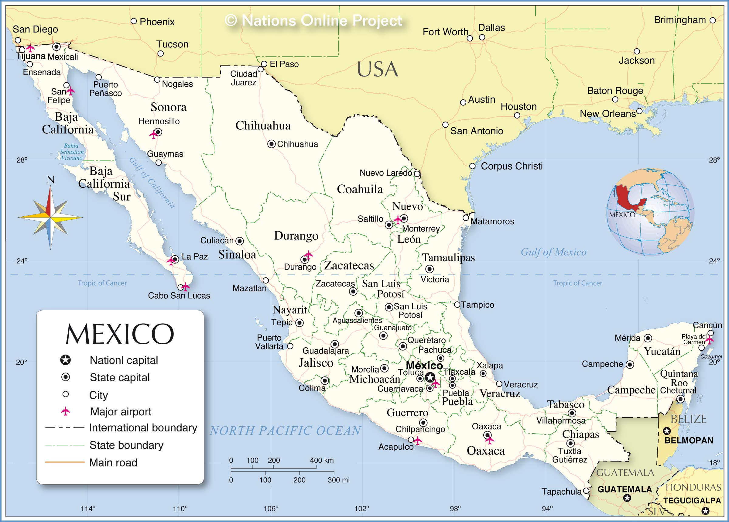 Mexico Administrative map, political map