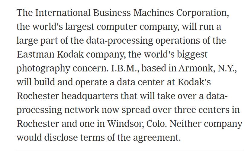 IBM builds Kodak data center 1989